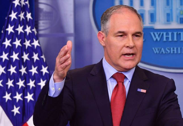 EPA Administrator Scott Pruitt speaks during a press briefing at the White House in Washington, D.C., on June 2. On Monday, environmental groups sued the EPA for missing a deadline set forth by the Clean Air Act. File Photo by Kevin Dietsch/UPI
