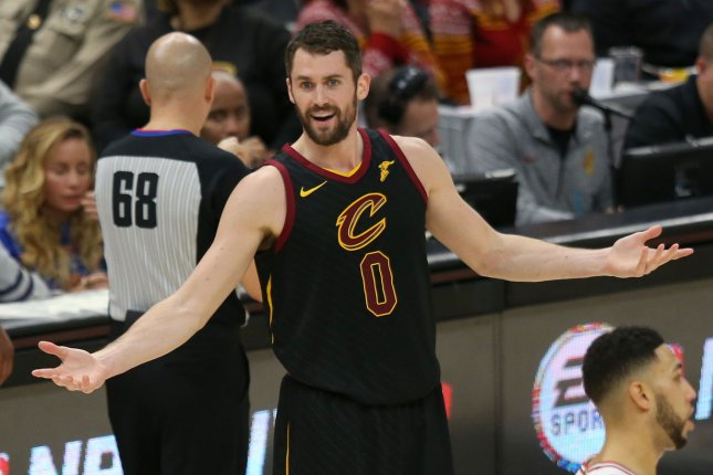 Cleveland Cavaliers power forward Kevin Love has been sidelined since October after undergoing toe surgery. Photo by Aaron Josefczyk/UPI