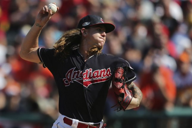 Cleveland Indians starting pitcher Mike Clevinger has yet to allow a run in 12 innings pitched this season, but will have to wait for his next start. He was placed on the injured list Tuesday. File Photo by Aaron Josefczyk/UPI