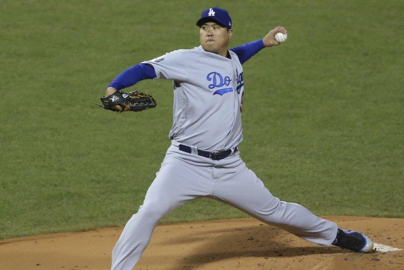 Los Angeles Dodgers starting pitcher Hyun-Jin Ryu has a 1.65 ERA this season. File Photo by Matthew Healey/UPI