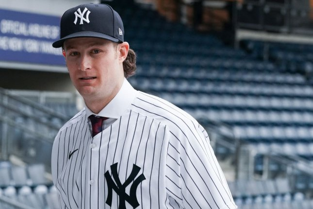 New York Yankees pitcher Gerrit Cole (pictured) allowed one hit -- a Miguel Andujar home run -- during an intrasquad scrimmage Tuesday at Yankee Stadium. File Photo by Bryan Smith/UPI