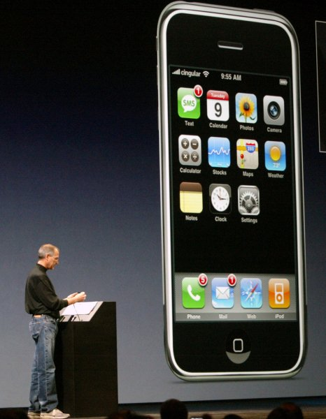 Steve Jobs, CEO of Apple Inc., demonstrates the new iPhone, during the keynote speech at the MacWorld Expo in San Francisco, California on January 9, 2007. Photo by Aaron Kehoe/UPI