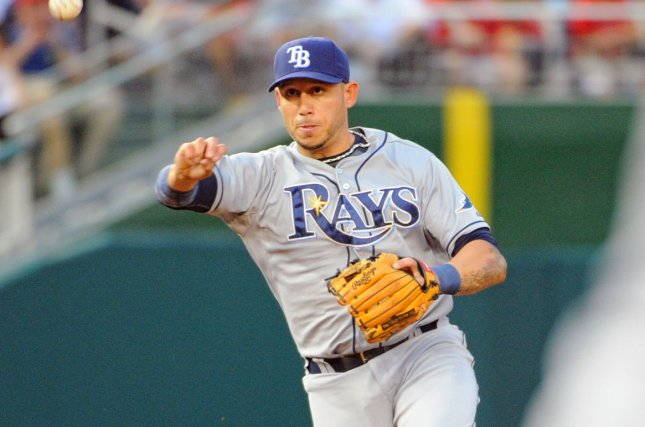 Tampa Bay Rays shortstop Asdrubal Cabrera (13) fields a ground ball and retires the runner in the third inning at Nationals Park in Washington, D.C. on June 17, 2015. Photo by Mark Goldman/UPI