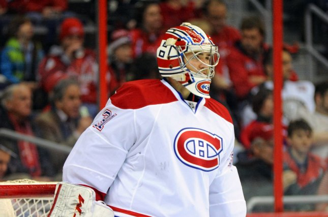 Montreal Canadiens goalie Carey Price has his team at the top of the NHL Power Rankings for the 2016-2017 season. File photo by Mark Goldman/UPI