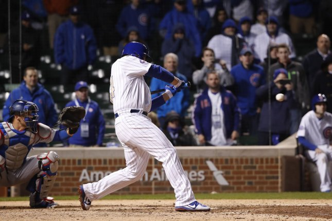 Chicago Cubs first baseman Anthony Rizzo hits the ball against the Los Angeles Dodgers. File photo by Kamil Krzaczynski/UPI