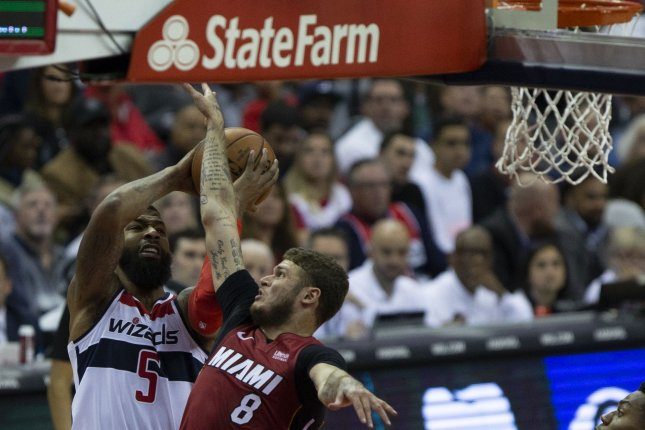 Former Washington Wizards forward Markieff Morris (5) averaged 9.4 points and 4.6 rebounds per game between the Oklahoma City Thunder and Wizards last season. File Photo by Alex Edelman/UPI