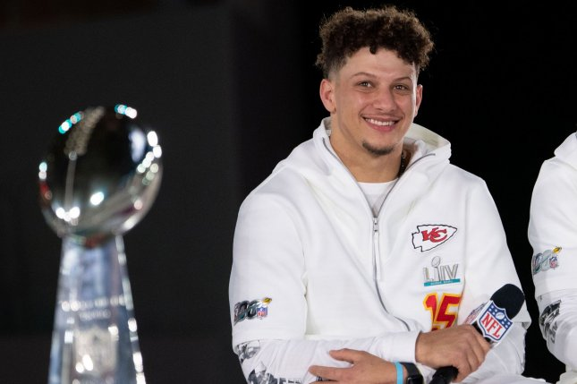 Kansas City Chiefs quarterback Patrick Mahomes has completed 65.7 percent of his throws for 615 yards, eight touchdowns and zero interceptions in two games this postseason. Photo by Kevin Dietsch/UPI