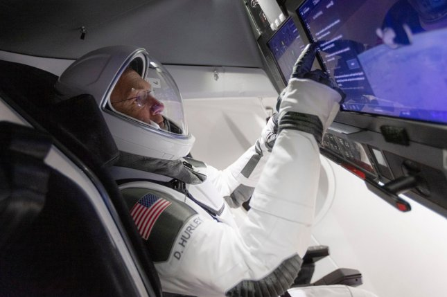 NASA astronaut Doug Hurley, shown on Jan. 13, trains for Wednesday's launch to the International Space Station in the Crew Dragon capsule. File Photo courtesy of SpaceX