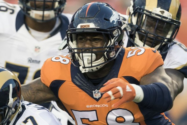 Denver Broncos linebacker Von Miller (58) will seek a second medical opinion on the ankle injury he sustained Tuesday at practice, but likely needs season-ending surgery. File Photo by Gary C. Caskey/UPI