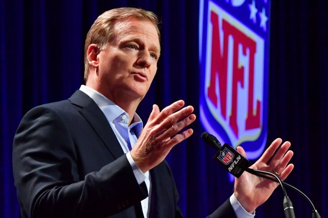 NFL commissioner Roger Goodell said earlier this week that the league does not plan to vaccinate players for COVID-19 before the Super Bowl, while the league said Tuesday it will not require bubbles for the playoffs. File Photo by Kevin Dietsch/UPI