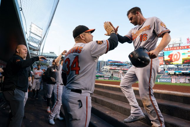 Baltimore Orioles first baseman Trey Mancini (R) missed the entire 2020 season because of Stage 3 colon cancer. File Photo by Kevin Dietsch/UPI