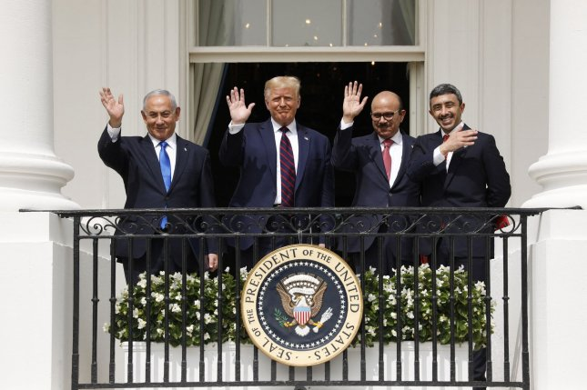 From left to right, Israeli Prime Minister Benjamin Netanyahu, U.S. President Donald Trump, United Arab Emirates' Minister of Foreign Affairs and International Cooperation Sheikh Abdullah bin Zayed Al Nahyan and Bahrain Foreign Minister Abdullatif bin Rashid Al Zayani stand together during the signing ceremony for the Abraham Accords, in which Bahrain and the UAE recognize Israel at the White House in Washington, D.C., on September 15. File Photo by Yuri Gripas/UPI
