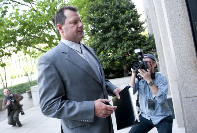 Former MLB star Roger Clemens arrives for his perjury trial at the U.S. District Court House in Washington, April 15, 2012. UPI/Kevin Dietach
