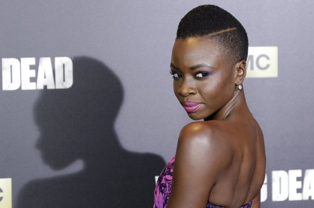 Danai Gurira arrives on the red carpet at AMC's The Walking Dead Season 6 fan premiere event on October 9, 2015 in New York City. Photo by John Angelillo/UPI