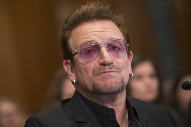 Bono, the lead singer of the band U2 and co-founder of the ONE campaign, an anti-poverty organization, testifies during Senate Appropriations Subcommittee hearing on violent extremism and the role of foreign assistance, on Capitol Hill in Washington, D.C. on April 12, 2016. Photo by Kevin Dietsch/UPI