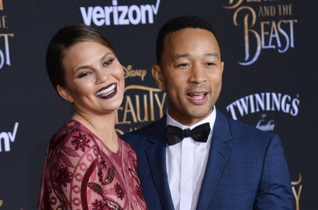 Chrissy Teigen (L) and John Legend attend the Los Angeles premiere of Beauty and the Beast on March 2. The couple welcomed daughter Luna in April. File Photo by Jim Ruymen/UPI