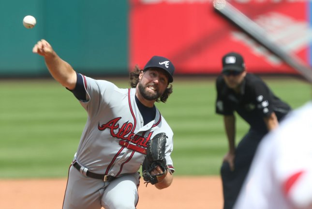 Atlanta Braves starting pitcher R.A. Dickey delivers a pitch to the St. Louis Cardinals in the fifth inning at Busch Stadium in St. Louis on August 13, 2017. File photo by Bill Greenblatt/UPI