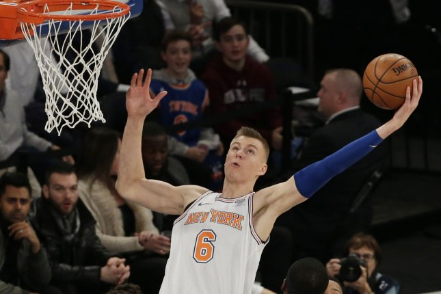 New York Knicks Kristaps Porzingis grabs a rebound in the first half against the Portland Trailblazers at Madison Square Garden in New York City on November 27, 2017. File photo by John Angelillo/UPI