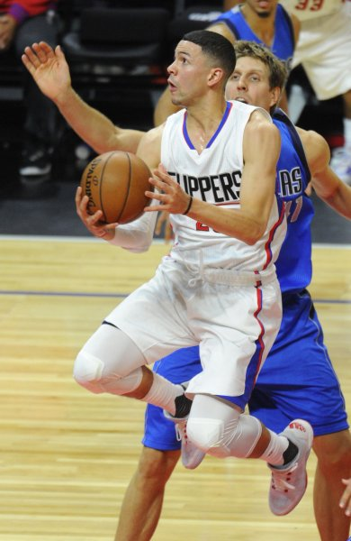 Los Angeles Clippers guard Austin Rivers drives to the basket in a game against the Dallas Mavericks. Photo by Lori Shepler/UPI