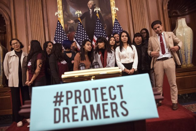 Dreamers and their supporters wait for a rally with House Minority Leader Nancy Pelosi, D-Calif., urging for Congress to take up the DACA issue and find a solution for the Dreamers, at the U.S. Capitol in Washington, D.C. on Jan. 18. On Friday, immigration rights group America's Voice voiced displeasure in a recent immigration proposal made by the Trump Administration. Photo by Kevin Dietsch/UPI