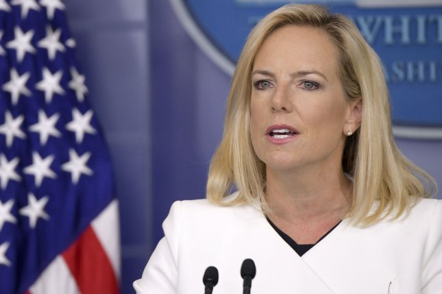 Secretary of Homeland Security Kirstjen Nielsen talked about steps her department is taking to prevent foreign meddling in the midterm elections. Photo by Leigh Vogel/UPI