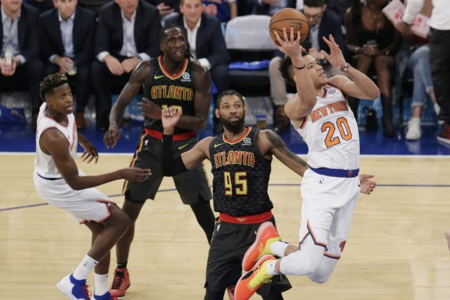 New York Knicks rookie Kevin Knox had one point in Saturday's game against the Boston Celtics before leaving with a sprained ankle. Photo by John Angelillo/UPI