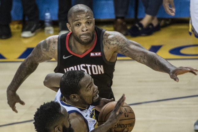 Former Houston Rockets forward P.J. Tucker (pictured) has been traded to the Milwaukee Bucks, where he will play alongside All-Star Giannis Antetokounmpo. File Photo by Terry Schmitt/UPI