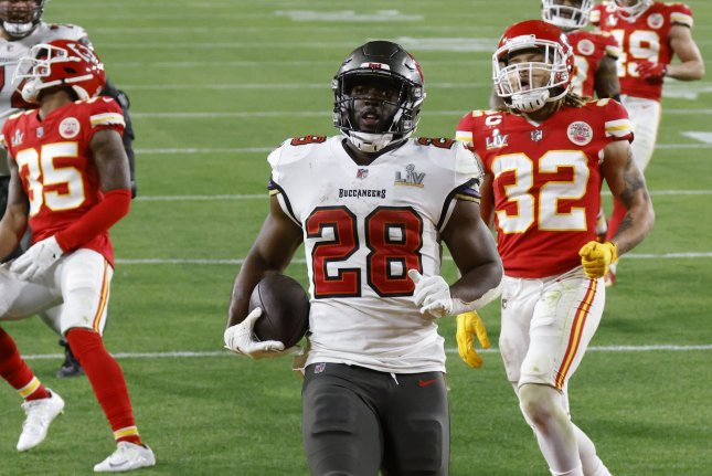 Tampa Bay Buccaneers running back Leonard Fournette (28) finished with 448 total yards this past postseason. File Photo by John Angelillo/UPI