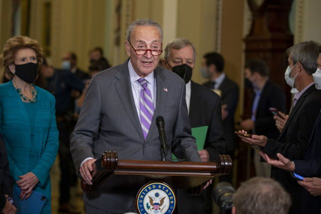 Senate Majority Leader Charles Schumer, D-N.Y., said Thursday lawmakers will vote on the Freedom to Vote Act next week. File Photo by Tasos Katopodis/UPI