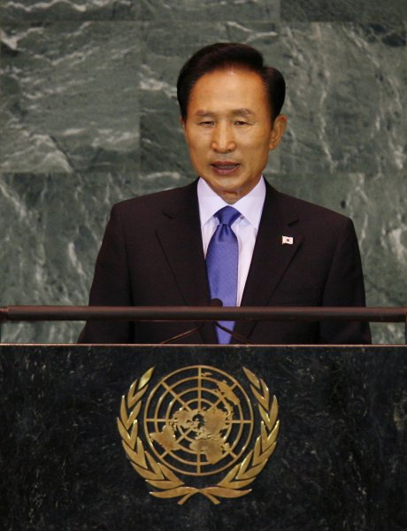 President of the Republic of Korea Lee Myung-bak speaks at the 64th United Nations General Assembly in the UN building in New York City on September 23, 2009. UPI/John Angelillo