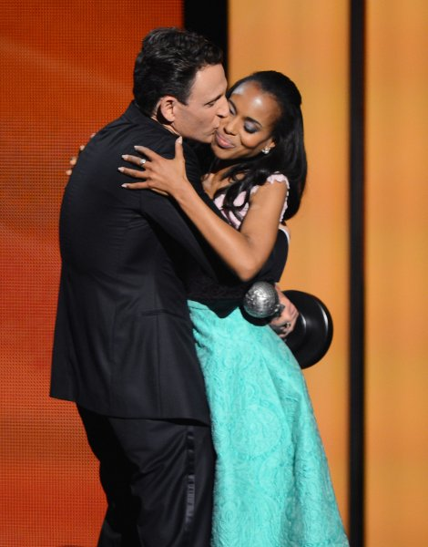 Actor Tony Goldwyn (L) and Kerry Washington were in a scene that upset many parents watching a Halloween special with their children. UPI/Jim Ruymen