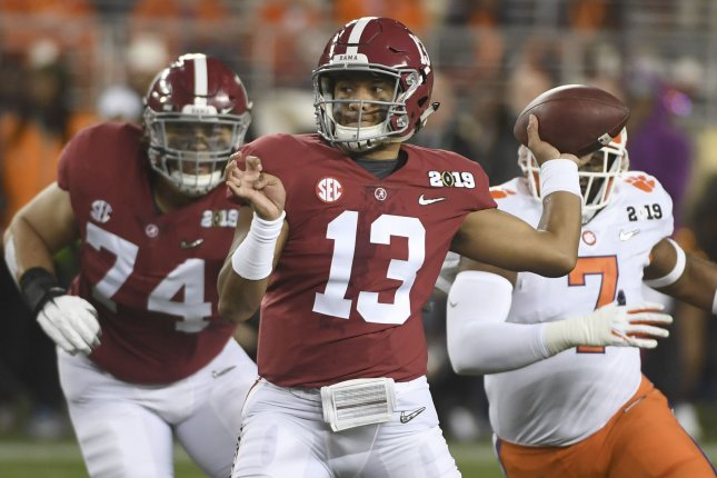 Former Alabama Crimson Tide quarterback Tua Tagovailoa (13) announced his decision to forgo his senior season and enter the 2020 NFL Draft on Jan. 6 in Tuscaloosa, Ala. File Photo by Terry Schmitt/UPI