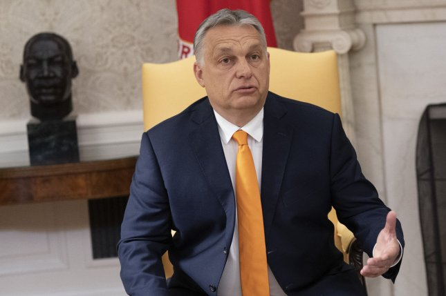 Hungarian Prime Minister Viktor Orban speaks to reporters during a visit with U.S. President Donald Trump at the White House in Washington, D.C., on May 13, 2019. File Photo by Chris Kleponis/UPI