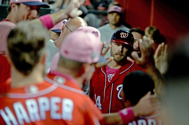 Washington Nationals' Mark Reynolds (C) is congratulated after hitting a two tun home run ing the eighth inning against the Arizona Diamondbacks on May 13 at Chase Field in Phoenix, Ariz. Photo by Art Foxall/UPI