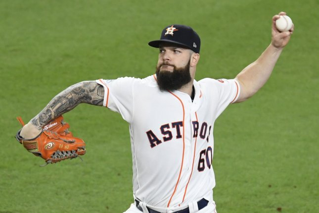 Former Houston Astros starting pitcher Dallas Keuchel pitched for the club from 2012 through 2018 before signing with the Atlanta Braves last season. File Photo by Trask Smith/UPI