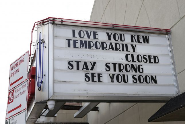 A marquee on a movie theater in the Kew Gardens section of New York City on October 6 reflects its closure due to restrictions related to the coronavirus pandemic. File Photo by John Angelillo/UPI