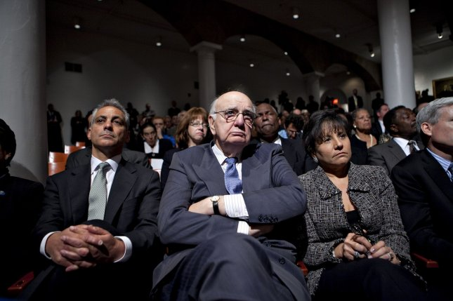 (L t R) Rahm Emanuel, the White House chief of staff, Paul Volcker, chairman of President Obama's Economic Recovery Advisory Board, and Penny Pritzker, chairman of Pritzker Realty Group, listen to U.S. President Barack Obama speak about financial reform at Cooper Union in New York on April 22, 2010. President Obama called on the financial industry to drop efforts to fight his regulation plan, saying a failure to impose tougher rules on the market will put the U.S. economic system at risk. UPI/Daniel Acker/Pool