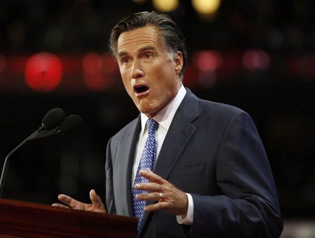 Gov. Mitt Romney (R-MA) speaks on the third day of the Republican National Convention in St. Paul, Minnesota, on September 3, 2008. (UPI Photo/Brian Kersey)