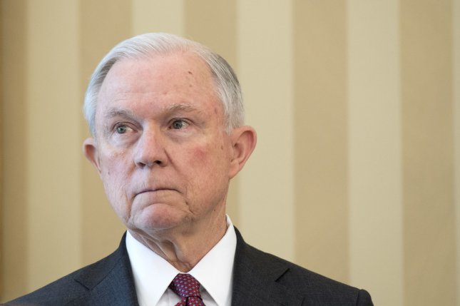 Attorney General Jeff Sessions is seen during his swearing-in ceremony in the Oval Office at the White House in Washington, D.C. on February 9. The White House says it's yet to be seen if a special prosecutor should be named instead of Sessions to run an investigation into Russia's alleged interference in the U.S. presidential election. Photo by Kevin Dietsch/UPI