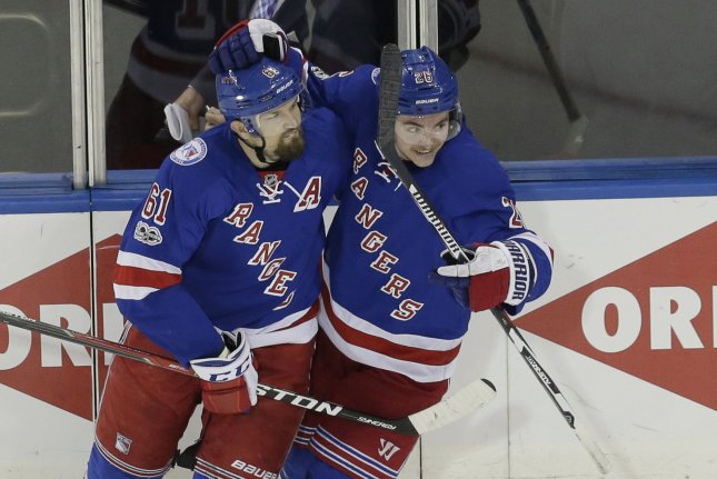 New York Rangers Rick Nash celebrates with Jimmy Vessey after scoring a goal in the 2nd period against the Ottawa Senators in game 3 of their Eastern Conference 2nd round series of the NHL Stanley Cup Playoffs at Madison Square Garden in New York City on May 2, 2017. Photo by John Angelillo/UPI