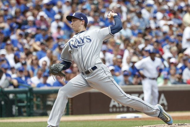 Tampa Bay Rays starting pitcher Blake Snell delivers against the Chicago Cubs in the first inning at Wrigley Field on July 5, 2017 in Chicago. File photo by Kamil Krzaczynski/UPI