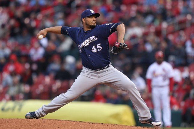 MIlwaukee Brewers starting pitcher Jhoulys Chacin delivers a pitch to the St. Louis Cardinals in the third inning on April 9 at Busch Stadium in St. Louis, Mo. Photo by Bill Greenblatt/UPI