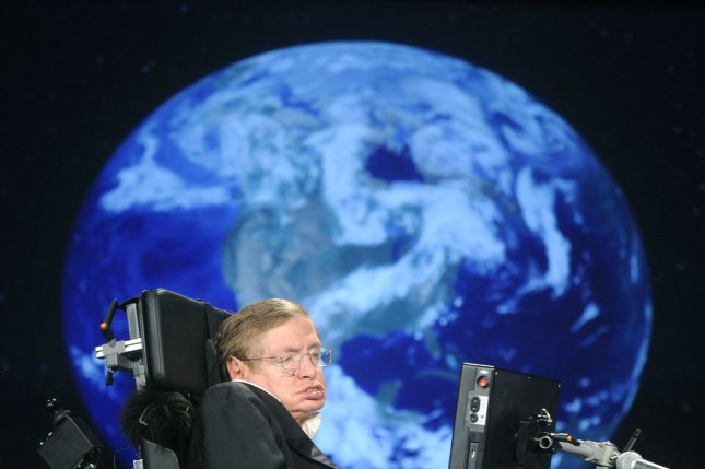 The voice of physicist Stephen Hawking, coupled with music by the composer Vangelis, will be broadcast into space and toward a black hole. Photo by Kevin Dietsch/UPI