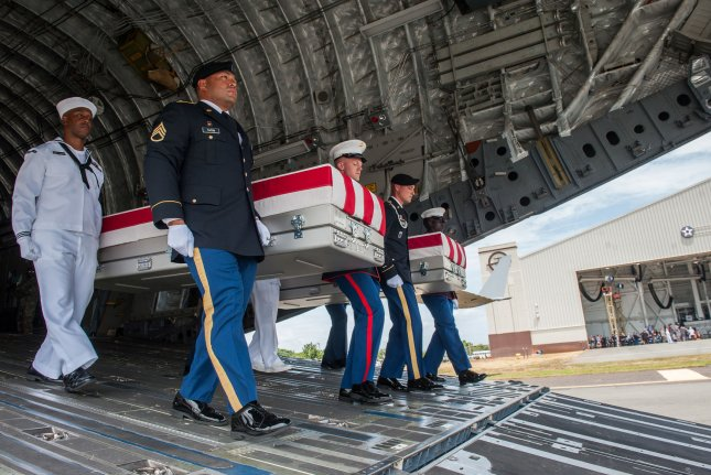 The United Nations Command recently repatriated 55 transfer cases from North Korea that contain what are believed to be the remains of American service members lost in the Korean War. North Korea is calling for a declaration ending the war. Photo by Senior Airman Apryl Hall/U.S. Air Force/UPI