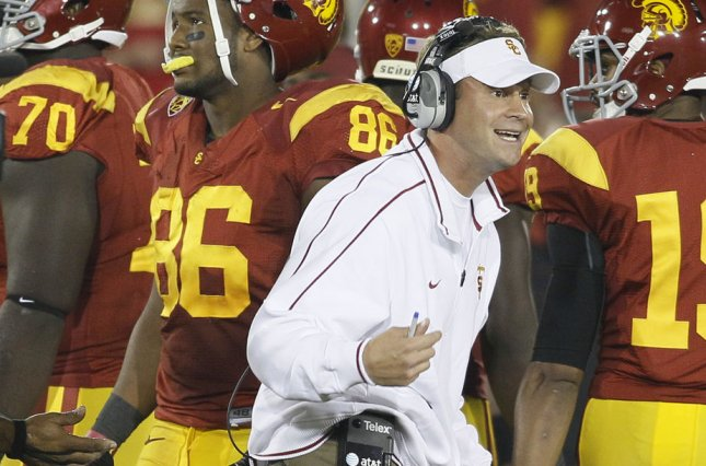 Former USC head coach Lane Kiffin argues with the referees at the end of regulation against Stanford on October 29, 2011 at the Coliseum in Los Angeles. File photo by Lori Shepler/UPI