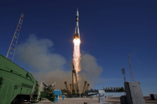 A Soyuz MS-10 spacecraft is launched on October 11 from the Baikonur Cosmodrome in Kazakhstan. The mission was aborted and the pilots ejected safely. Photo by NASA/Bill Ingalls/UPI