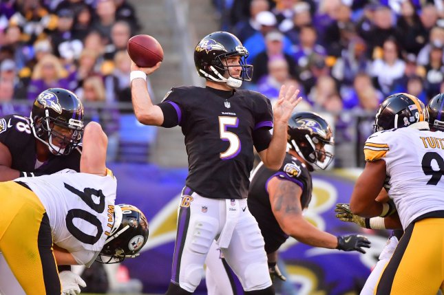 Baltimore Ravens quarterback Joe Flacco (5) looks to pass against the Pittsburgh Steelers in the fourth quarter on Sunday at M&T Bank Stadium on November 4, 2018 in Baltimore, Maryland. Photo by Kevin Dietsch/UPI