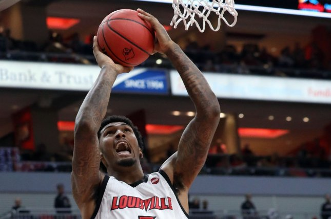 Senior forward/center Malik Williams and the undefeated Louisville Cardinals will not play UNC Greensboro as scheduled on Friday after a positive COVID-19 test emerged from the basketball program. File Photo by John Sommers II /UPI