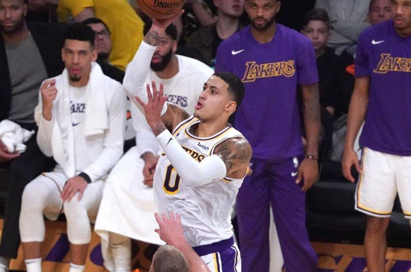 Los Angeles Lakers forward Kyle Kuzma averaged 16 points per game over his first three NBA seasons. File Photo by Jon SooHoo/UPI