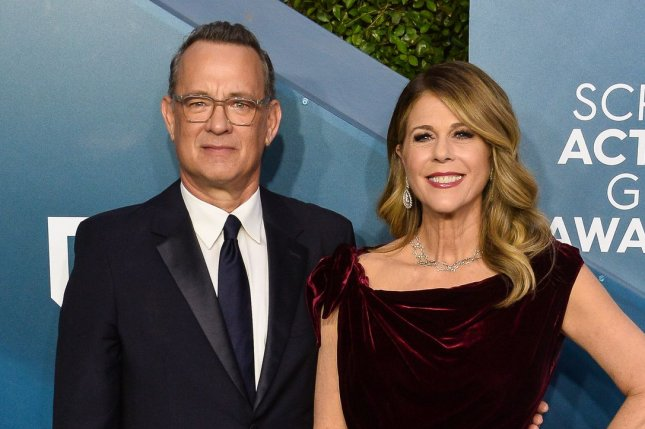 Tom Hanks (L) and his wife Rita Wilson arrive for the 26th annual SAG Awards in January 2020. Hanks' new film Bios has been delayed to August. File Photo by Jim Ruymen/UPI